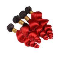 ombre vermelho curly tecer venda por atacado-Ombre Vermelho Colorido Onda Solta Extensões de Cabelo Virgem Dois Tons 1B Vermelho solto Encaracolado Humano Weave Do Cabelo 4 Pacotes 4 Pçs / lote
