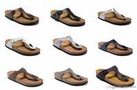 zapatillas de corcho de hombre al por mayor-801 Gizeh 2018 Venta caliente verano Mujeres y hombres 3 hebillas pisos sandalias Zapatillas de corcho unisex zapatos casuales imprimir colores mezclados tamaño 34-46