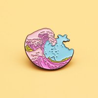 Wholesale brooches sea resale online - sea wave brooch and enamel pins Men and women fashion jewelry gifts anime movie novel lapel badges