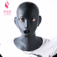 Wholesale latex bdsm resale online - Woman Latex Mask Rubber Unisex Hood with Red Mouth Teeth Lip Facing Sheath Bdsm Sex Toys for Couples Adult Games Bdsm Mask