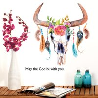 Wholesale abstract glasses paintings for sale - Group buy 20190621 Hand painted ox horn feather cartoon wall sticker personality creative bedroom living room background decoration sticker