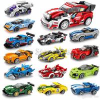 ingrosso giocattoli modelli di auto costruire-Famous Racing Cars mattoni 12 stili kid giocattoli dei ragazzi famosi mattoni modello auto montaggio di puzzle da regalo