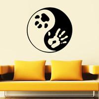 impressão de vinil de parede de vinil venda por atacado-Vinyl Wall Wall Stickers Ying Yang Yoga Animais Paw animais Imprimir Dog Art Decalque Sala ETIQUETA para Yogo Estúdio Decor