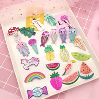 barrette frucht groihandel-27 Arten Kinder Haarspange Karikaturdruck Flamingo Frucht Korean BB Hairpin Mode Haarschmuck chidren Spangen