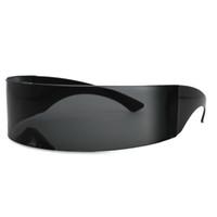 Wholesale sun visors sunglasses for sale - Group buy Fashion Unisex Shield Black Sunglasses Futuristic Windproof Visor Sun Glasses For Men Women Shades Eyewear UV400 Hot