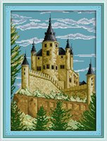 Wholesale set castle canvas prints resale online - Castle Europe scenery classical home decor painting Handmade Cross Stitch Embroidery Needlework sets counted print on canvas DMC CT CT