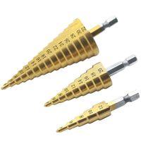 12 broca venda por atacado-3 Pçs / set Titanium Passo Broca Set com Saco De Armazenamento-4241 HSS Metric 4-12 / 20 / 32mm 1/4