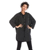 minimalistischer langer mantel großhandel-Streifen Highstreet Office Lady Cut Langarm Minimalistischen Mantel Herbst Frauen Mit Kapuze Taschen Oberbekleidung Kleidung Schwarz