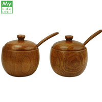 Wholesale condiments storage for sale - Group buy MyLifeUNIT Natural Wooden Salt Box Condiment Seasoning Storage Container Spice Box with Spoon Set of