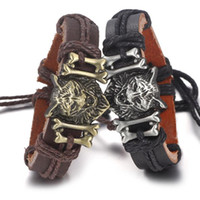 Wholesale wolf head jewelry resale online - designer jewelry punk wolf bracelets Pu leather wolf head bangles for men hot fashion free of shipping