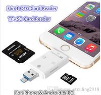 iphone usb flash drive venda por atacado-Novo 3 em 1 i-flash drive multi-cartão otg reader micro sd tf memória usb leitor de cartão adaptador para iphone 8 7 6 andriod pc