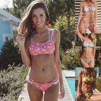 65d8022bb126 2019 New Summer Style Push Up Sexy Bikini Set Strapless Tie Women Swimwear  Swimsuit Bathing Suit Print Beach Brazilian Bandeau