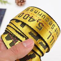 ingrosso cinture di tela gialla-Street Style Industrial Letters Cintura di tela gialla Moda Donna Uomo Unisex Cintura ricamo Cinture tessuto femminile Cintura in tessuto
