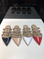 ingrosso flip flop di brevetto-2019 Vendita Calda delle Donne Piatto Rivetto Espadrillas Espadrillas Casual Sandali Pantofole In Pelle Verniciata Flip Flop 34-41