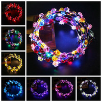Wholesale flashing led flower for sale - Group buy LED Light Up Wreath Headband Women Girls Flashing Headwear Hair Accessories Concert Glow Party Supplies Halloween Xmas Gifts RRA