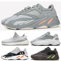 спортивная обувь высшего качества оптовых-2019 Inertia 700 Wave Runner Мужские женские дизайнерские кроссовки 700s Static Mauve Лучшее качество Kanye West Спортивная обувь с коробкой носки X