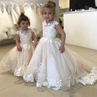Wholesale for teens for sale - Group buy 2020 Glitz Boho Lace Flower Girls Dresses Sheer Neck Cap Sleeves Appliques Tulle Wedding Girls Pageant Dresses Party Dress For Teens BC2407