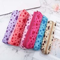 Wholesale cute girl pencil case for sale - Group buy Velvet Cute Cosmetic Bags PC Candy Colors Long Makeup Case Cosmetic Case Zipper Pencil Bags Girl Female Dot Heart Printed