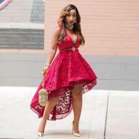 vestidos de cocktail de desfile vermelho venda por atacado-Novo designer 2019 Sexy curto Pageant Vestido de Renda Vestidos de Baile de Noite Sexy V pescoço Assimétrico Red Cocktail Dresses Curto Mini Partido Formal