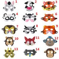 me senti bonito venda por atacado-Crianças Cosplay Felt Máscaras Animal Dos Desenhos Animados Bonito Cow Fox Máscaras de Aniversário para Crianças Presente de Aniversário Favores Do Partido Dress-Up Performance Adereços