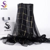 organza de seda negra al por mayor-[BYSIFA] Mujeres Negro Oro Plaid bufanda de seda del mantón de las señoras accesorios de moda marca 100% Organza de seda bufandas largas envuelve 190 * 70 cm