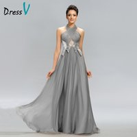 Wholesale formal dresses evening long chiffon halter for sale - Group buy Dressv Hot Sale Long Evening Dress Gray Halter A Line Pleats Sequined Zipper Floor Length Formal Dress Party Evening Dresses