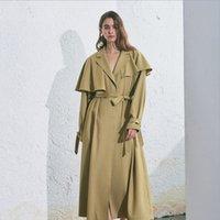ingrosso trincea increspata-2020 Spring Trench delle signore delle donne Ruffle irregolare cappotto casuale allentato Outwear lungo Windbreaker vestiti di autunno