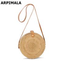 pequenos sacos artesanais venda por atacado-Bohemian Bags Bali Rattan por Mulheres Small Circle Praia Bolsas Verão Straw Vintage Saco Handmade Crossbody