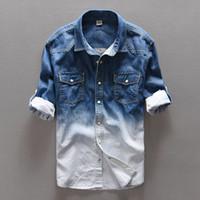 herren blaue jeanshemden großhandel-100% Baumwolle Gradient Blue Jeans Hemd Männer Art und Weise einzigartige Persönlichkeit Jeanshemd Männer Frühling lange Hemden der Männer camisa masculina
