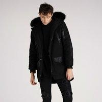 ingrosso cappotti lanuginosi neri-Giubbotto da uomo con cappuccio, stile vintage, nero scuro, giacca multi-tasca stile ninja, collo alto morbido