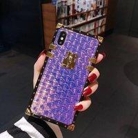 couverture dorée pour iphone achat en gros de-Cas de téléphone de luxe Designer Golden Square pour Iphone 6 s cas pour I Phone X XS MAX XR 8 7 6 Plus cas antichoc Hologram Cover 50pcs