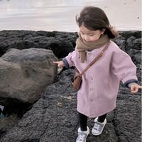 gelbe lange daunenjacke großhandel-WLG Wollmantel für Mädchen Winterkinder drehen Kragen Langarm dicke Kleidung Baby lange Stil gelb rosa Jacken Kinder 3-7