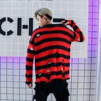 topos de suéter vermelho e solto venda por atacado-Preto Vermelho Rasgado Buraco Camisola Hip Hop Homens Streetwear Oversized Solto Camisola de Malha Jaqueta de Malha Pullovers Outono Casal Tops