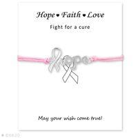 grünes bewusstseinsarmband großhandel-Unisex rot gelb rosa grau lila grün Kordel mit Beschriftungskarte Silber Hope Ribbon Awareness Charm Armbänder für Frauen