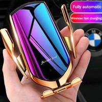 neue ladegeräte großhandel-NEUE Magie R1 Drahtlose Auto Ladegerät Automatische Klemmung Für iphone Android Air Vent Handyhalter 360 Grad-umdrehung 10 Watt Schnellladung mit Box