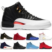 design basquetebol sapatos masculinos desportivos venda por atacado-Novos 12 Homens Sapatos de Basquete 12s Meia-noite Preto Jogo Real FIBA Cinza Branco Táxi Reverso Game Design Designer Tênis Esportivo Sneaker 8-13