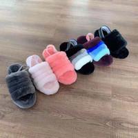 Wholesale girls pink slippers resale online - Xmas velvet slippers fashion elements wide version of elastic slippers heel belt design suitable for women Kids girl comfortable slippers