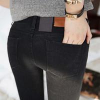 pés fêmeas coreanos venda por atacado-Calças de brim das mulheres Na primavera de 2019 Preto Stretch Jeans nova fêmea coreano estiramento magro calças pés