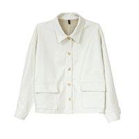 weiße ledertasten großhandel-Frauen PU Kunstleder weiß schwarz Jackentasche drehen unten Kragen Outwear Knopf High Street