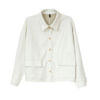 белые кожаные кнопки оптовых-Женщины PU искусственная кожа белый черный пиджак карман отложным воротником пиджаки кнопки главной улицы