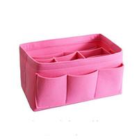 Wholesale casual cloth handbags resale online - Felt Cloth Insert Bag Organizer Makeup Handbag Storage Organizer Multi functional Travel Insert Handbag Portable Cosmetic Bags RRA1320