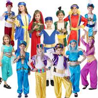 Wholesale girls boys summer dress resale online - Arabian Girl Costume Fancy Dress Cosplay Outfits Clothing girl boy middle east Dubai prince princess Arabian shepherds clothes KKA7089
