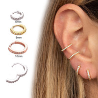 ingrosso orecchini piercing della cartilagine dell'orecchio-Sellsets Nuovo arrivo 1pc 6mm / 8mm / 10mm Cz Huggie Hoop Cartilagine Orecchino Helix Tragus Daith Conch Rook Snug Ear Piercing Gioielli SH190727