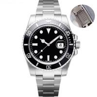 reißverschluss edelstahl großhandel-Luxus Herrenmode Uhr Edelstahl Reißverschluss automatische mechanische Uhr 2813 Sport Saphir wasserdichte Taucheruhr