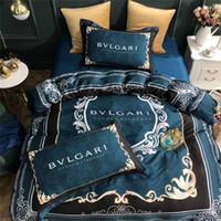 ingrosso tessuti di tessuto blu-Set biancheria da letto blu lettera BV Biancheria da letto classica moda Set di trapunte con biancheria da letto matrimoniale estiva con tessuto liscio
