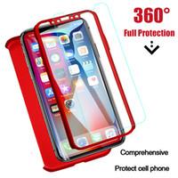 housses de téléphone complet pour iphone 5s achat en gros de-Pour iPhone 5s SE 6 6s 7 8 Plus XR XS MAX samsung téléphone cas 360 Degré de protection complète avec couvercle en verre