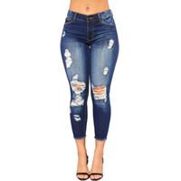 mulheres modelo fitness venda por atacado-Mulheres Jeans tendência de alta qualidade modelos de mulheres quentes Buraco Skinny Pencil Denim Jeans Trecho Slim Calças de Fitness Calças