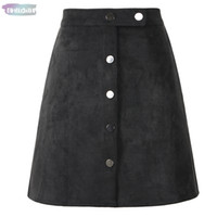 Wholesale red satin line skirt for sale - Group buy Women Button Mini A Line Skirt High Waist Black Vintage Style Winter Spring Short Skirt Tutu Saia Suede S1001
