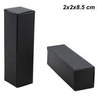 bâtons de papier bricolage achat en gros de-100 PCS Noir 2x2x8.5cm Kraft Papier Rouge À Lèvres Bouteille De Parfum Emballage Boîte