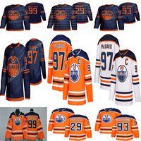 hokey formaları gretzky toptan satış-Edmonton Oilers 2019-2020 Üçüncü Forma 97 Connor McDavid 99 Wayne Gretzky 29 Leon Draisaitl 93 Ryan Nugent-Hopkins Hokeyi Formaları